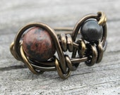 Gothic Ring , Obsidian and Black Jasper Antique Brass Size 7 Ring