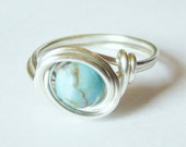 Turquoise Ring Silver Wire Wrap Jewelry