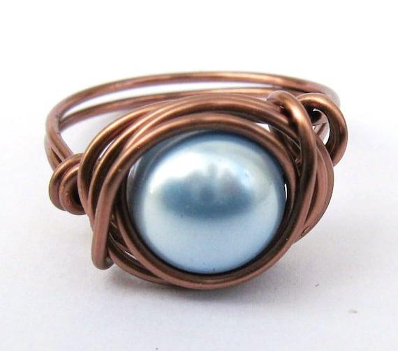 Pearl Ring Light Blue Swarovski In Antique Copper Jewelry Half Off Sale