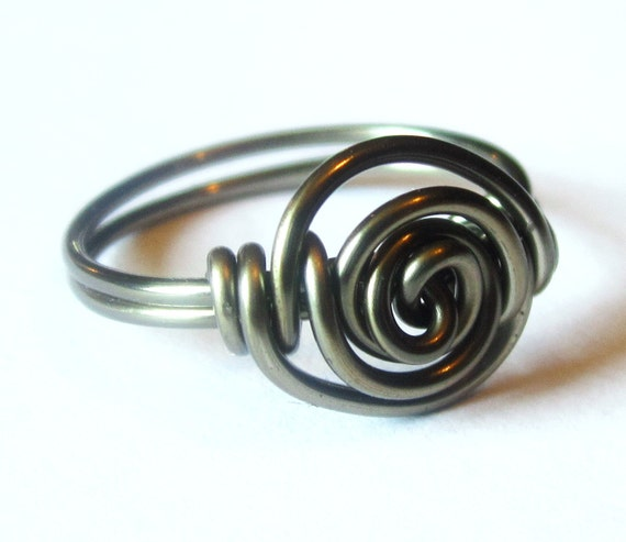 Gunmetal Ring - Gothic Jewelry - Rosette Custom Size Ring