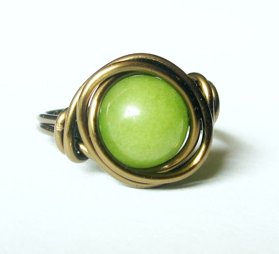 Green Jade Ring - Boho Jewelry, Wire Wrapped Bohemian Ring - Black Friday Etsy Cyber Monday Etsy