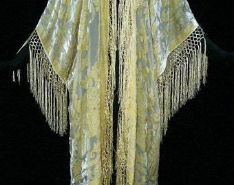 Vanilla Fringe Burnout Velvet Jacket Kimono Opera Coat Silk One size