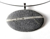 Gray Beach Stone with White Stripe - Necklace