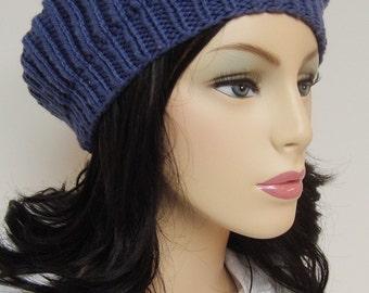 Lovely Blue Wool Violet Beret