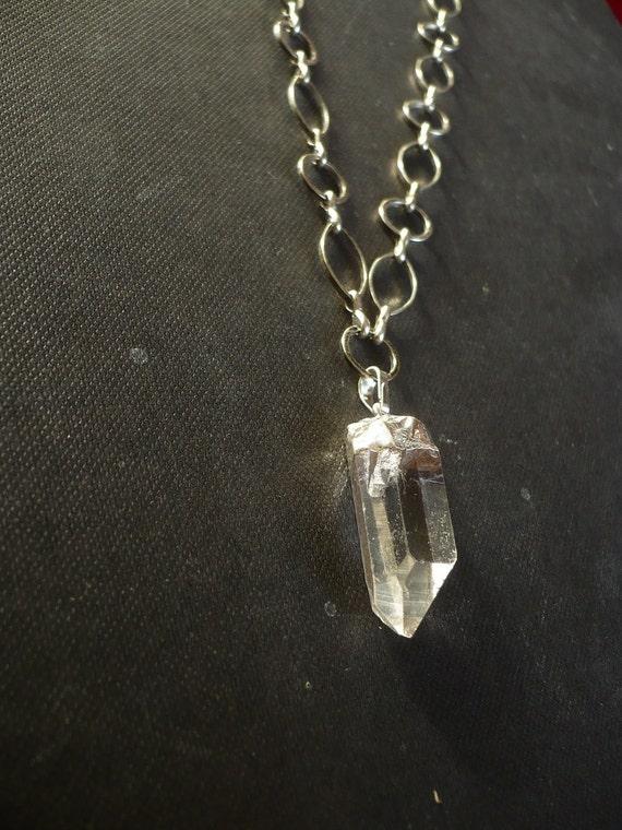 Quartz crystal necklace. SALE  Long chain necklace