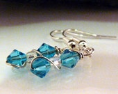 Turquoise Blue Crystal earrings  handmade by theBeadtriss READY TO SHIP