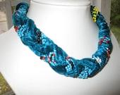 BlueVelvet Necklace.  Velvet Fabric and Turquoise Pearls Jewel