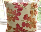Gorgeous pink fabric pillow cover. Three dimensional Velvet foliage 18x18 inches