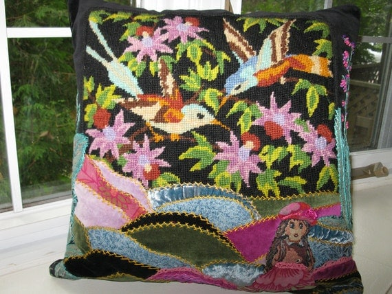 Crazy Quilt Pink, Blue Pillow Cover Embrodery Landscape,Black  Forest,  18x18.  Birds Needlepoint