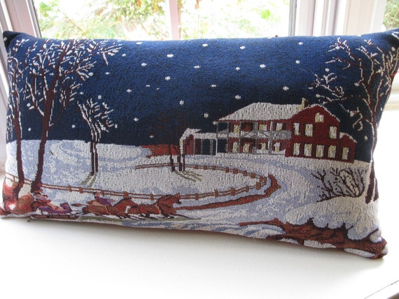 Winter  Landscape Tapestry Fabric Pillow Cover . Dark Blue, White, Burgundy Pillow Snowing in the night.