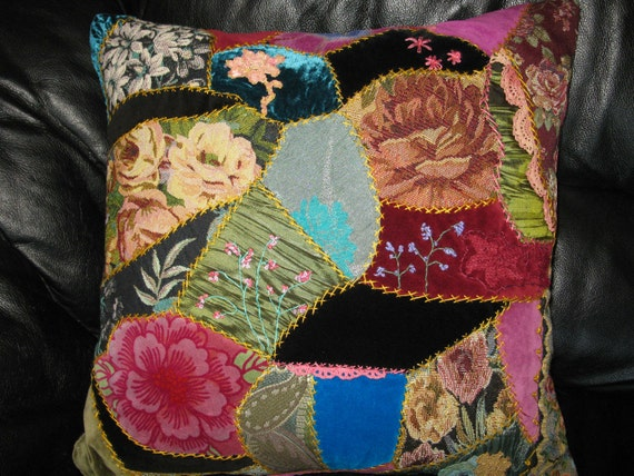 Embroidered crazy quilt  Flowers pillow cover. Victorian style  18x18 inches