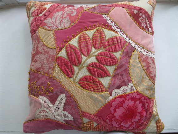Embroidered Crazy quilt pink pillow cover. Handmade , one of a kind 18x18  pillow