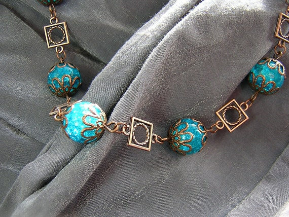 Steampunk/Vintage Style Turquoise and Copper Necklace - Handmade by Rewondered D225N-00353 - $24.95