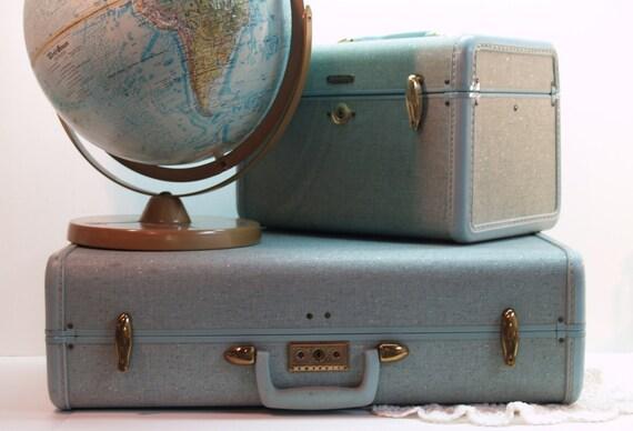 samsonite pale blue suitcase