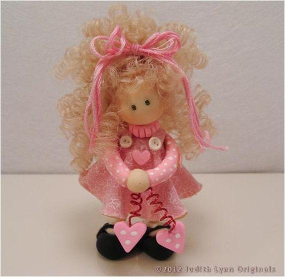 OOAK miniature doll - Pretty in Pink