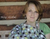 Breastfeeding Cover with Pocket Large Nursing Cover Grey Lime Turquoise Chocolate Spots - Geo
