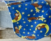 Burp Cloth Contour Burp Rag Terry Cloth and Flannel Curious George Monkey Blue Yellow Moon - Curiosity