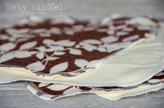 Cloth Baby Wipes Washcloths Toddler Baby Girl Flannel Soft Reusable Set of 4 Brown Cream Leaves - Peaceful Leaves