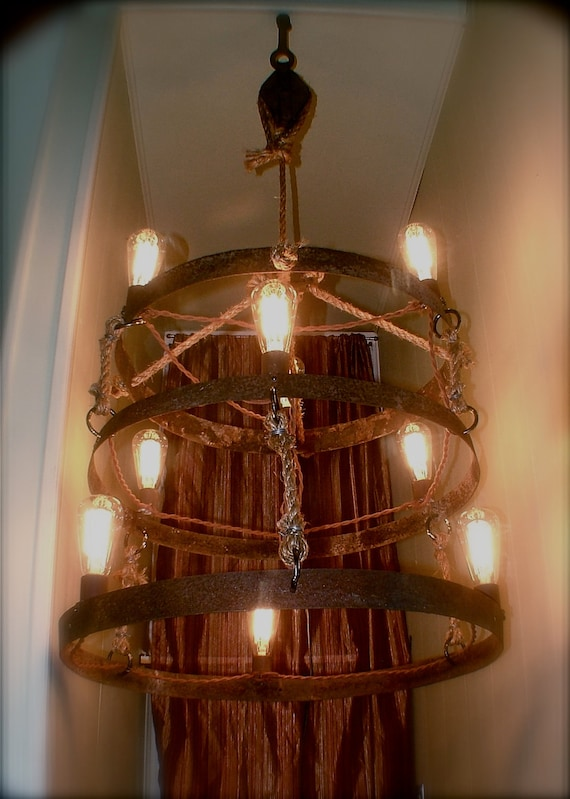 Repurposed Handmade Rustic Chandelier - RESERVED -
