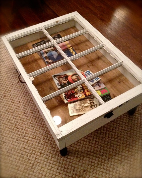 RESERVED for tiffany  do not buy -Reclaimed Window Coffee Table with Storage, Upcycled, Repurposed