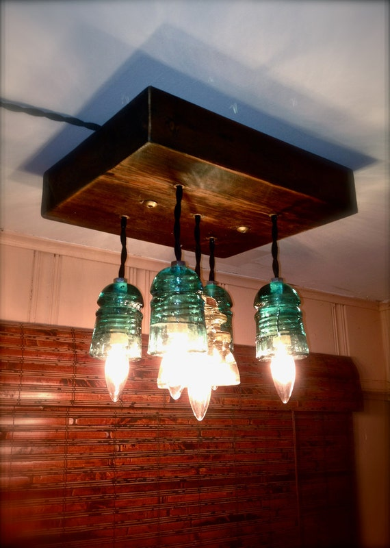 Pendant Lights Repurposed Blue And Clear Glass Insulators