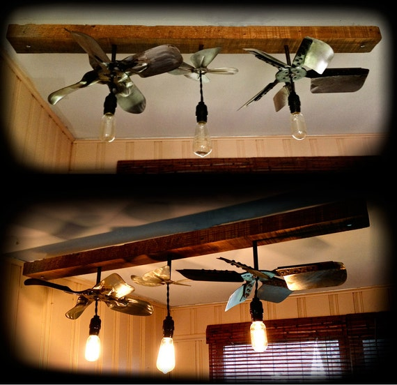 industrial style light fixture 3 bulb upcycled steel fan blades