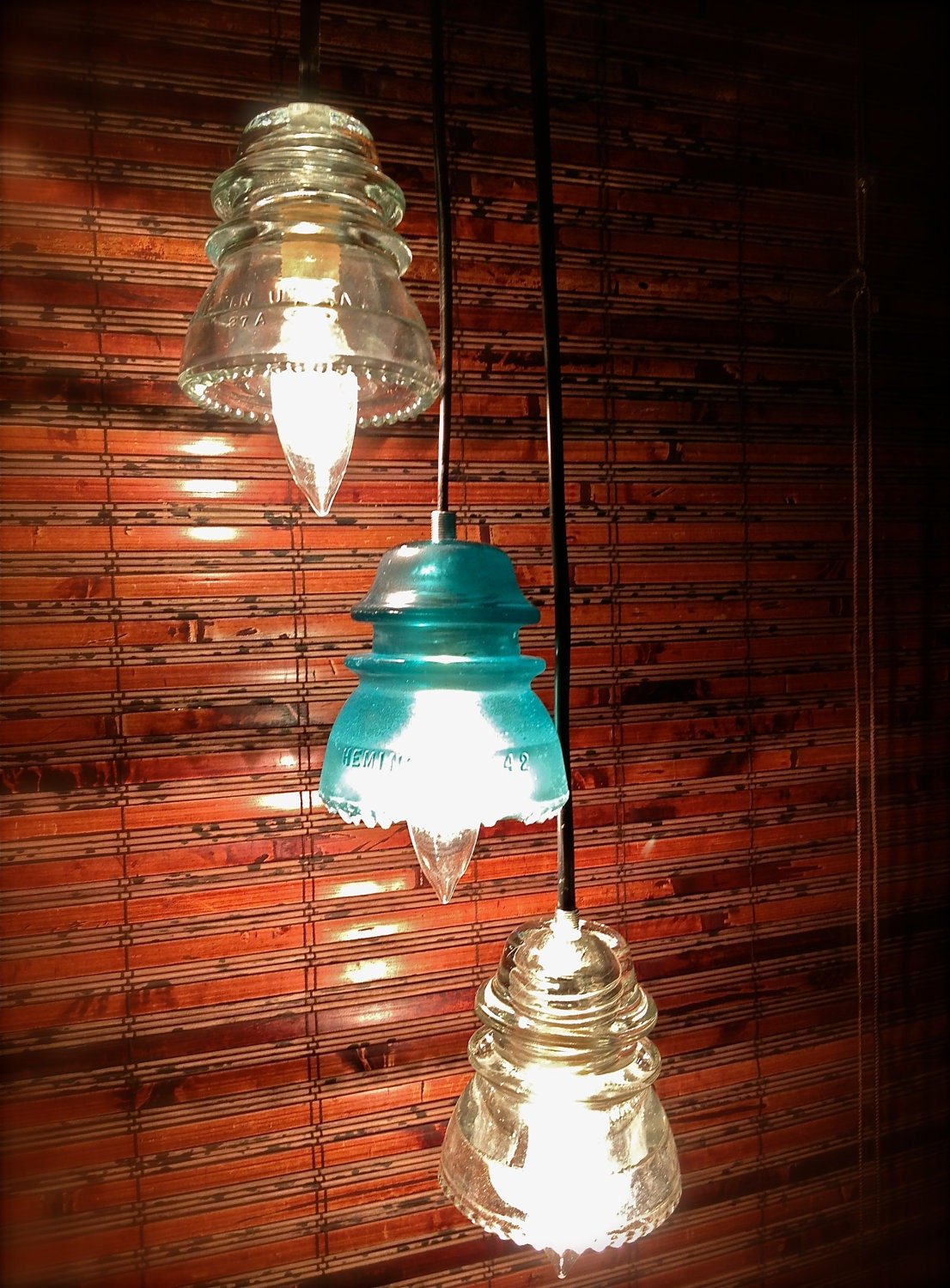 Repurposed Glass Insulator Pendant Lights Blue And Clear