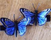 Handmade Set of 2- Blue Feather Butterflies Hair Clips