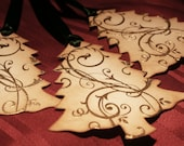 Christmas Tags Gift Tags Wish Tree Tags- Gold Embossed Scroll Trees- Vintage Appearance - Set of 5