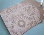 wedding Wish Tree/Gift Tags  - White Embossed Flourish on Kraft - Vintage Appearance -  Set of 30