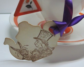 Alice In Wonderland - Mad Hatter's Tea Party Teapot Tags -Vintage Appearance - Set of 10
