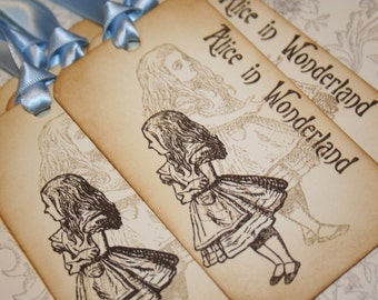 Alice in Wonderland Tags- Alice Double Image - Vintage Appearance - Set of 5