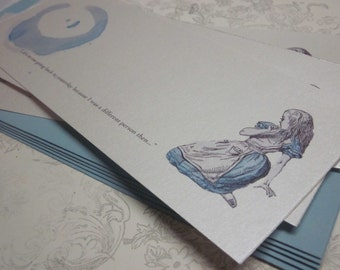 Alice in Wonderland Pearlized Flat Notecards with blue envelopes - Panoramic- set of 6