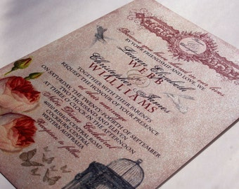 Whimsical French Baroque Vintage Wedding Invitation and RSVP Sample - LAUREN Collection