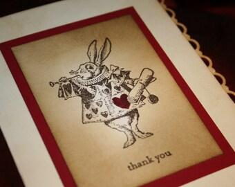 Alice In Wonderland Thank you cards - white rabbit - Vintage Inspired  - Bundle of 10