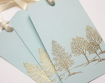 Tree Wedding Wish tree tags Gift Tags favor tags - Gold Embossed Luxury - set of 5