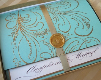Luxury Wedding Invitation - Marie Antoinette inspired -Regal -  SAMPLE
