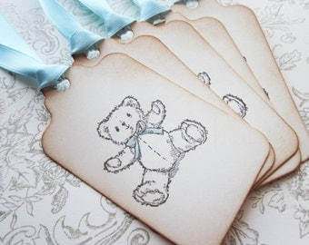 Teddy Bear Favor Tags -Baby shower tags - set of 5