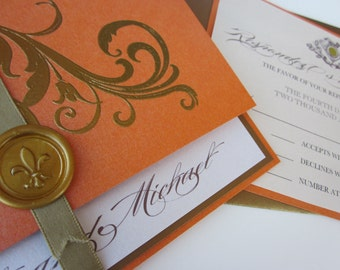 Tangerine Vintage Wedding Invitation - Marie Antoinette inspired -Regal -  SAMPLE