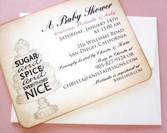 CUSTOM Baby Shower Sugar & Spice invitations/thank you cards/custom sign