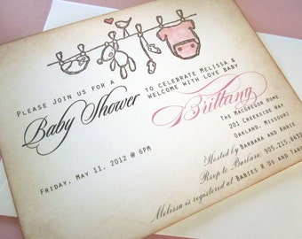 Baby Shower Invitation AS SEEN ON Disney Baby- clothesline - vintage appearance - sample