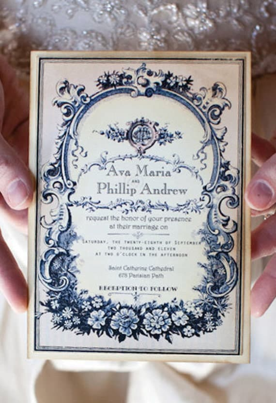 Vintage Wedding Invitation Sample -  Parisian Perfume Label - Ava Collection -choice of colour - featured on WedLuxe.com