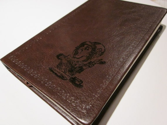 Mad Hatter From Alice in Wonderland Altered Journal/Notebook/Diary - Deep Brown Leather Appearance