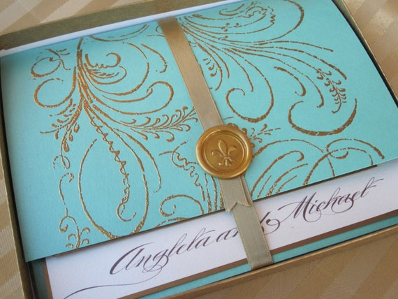 Luxury Wedding Invitation - Marie Antoinette inspired -Regal -  SAMPLE