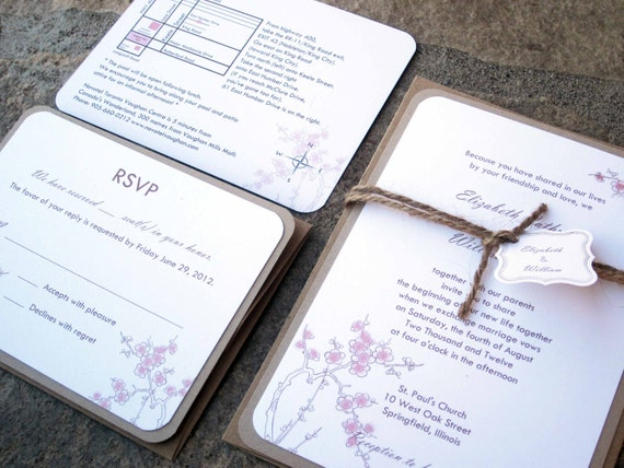 Rustic Floral Collection - Cherry Blossom invitation/Rustic Twine/Burlap Wedding Invitation Suite-as seen on Style Me Pretty