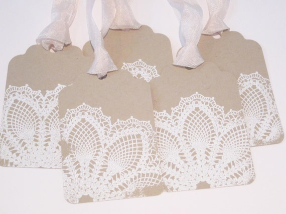 wedding Wish Tree/Gift Tags  - Embossed Lace Kraft - Vintage Appearance -  Set of 5