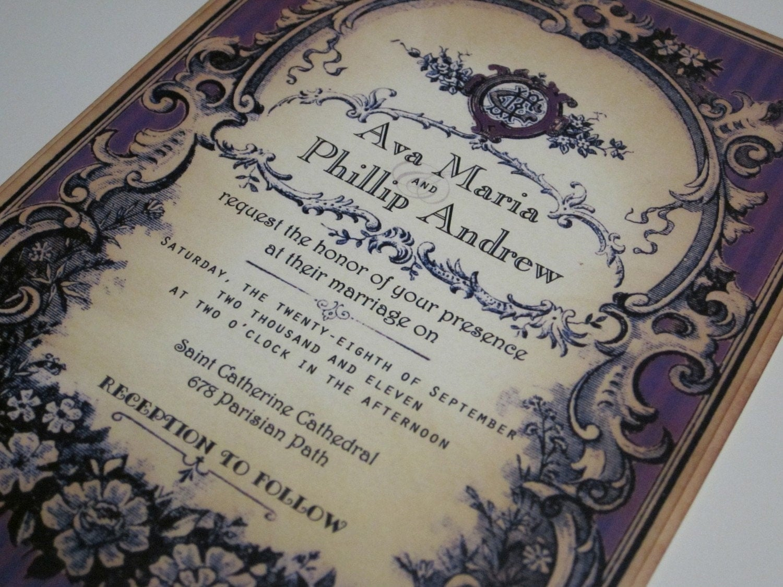 Sample Invitations For Wedding: Vintage Wedding Invitation Sample Parisian Perfume Label