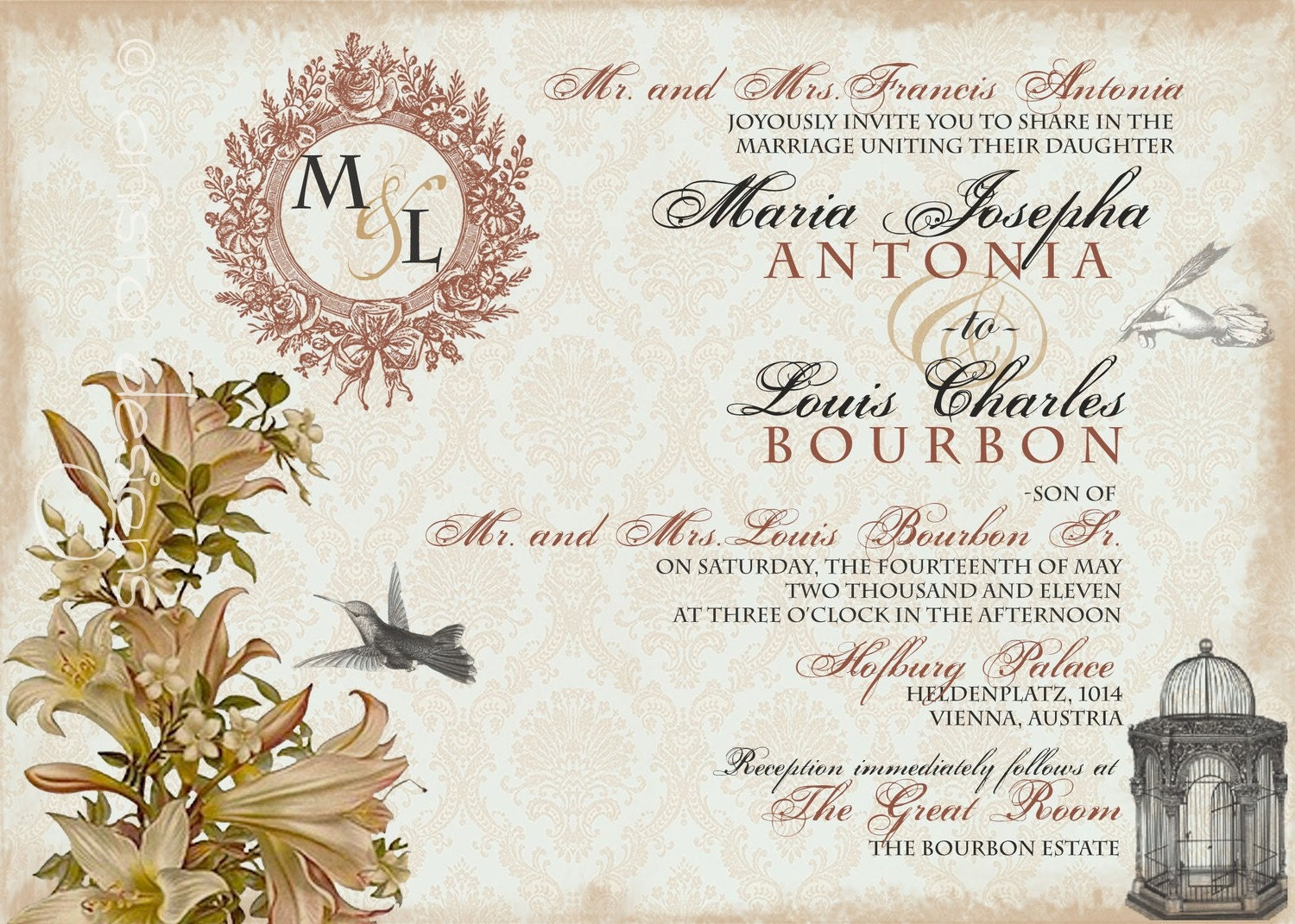 Vintage Wedding Invitation Sample Whimsical French Baroque