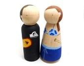 Wooden Peg Doll Custom Wedding Cake Topper