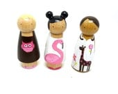 Wooden Peg Doll Girls Play Set- Pink Brown White